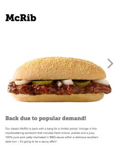 Malta McRib Nutrition Page